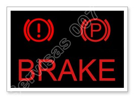 Stabdžių sistemos įspėjamasis indikatorius automobilio prietaisų skydelyje