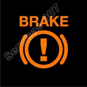 Stabdžių skysčio trūkumo įspėjimas automobilio prietaisų skydelyje