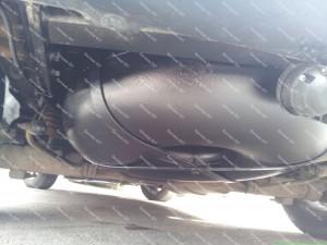 Toroidinis dujų balionas montuojamas vietoje atsarginio rato automobilio išorėje