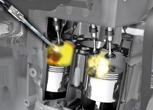 Pakaitinimo žvakių vieta dyzeliniame variklyje
