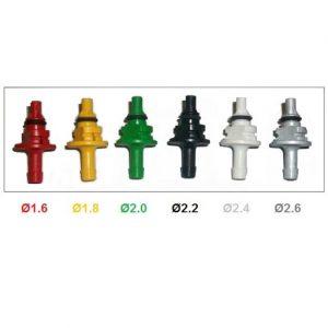 AEB Iplus dujų purkštukų antgaliai, skirtinga spalva skirtingas nominalas ir pralaidumas